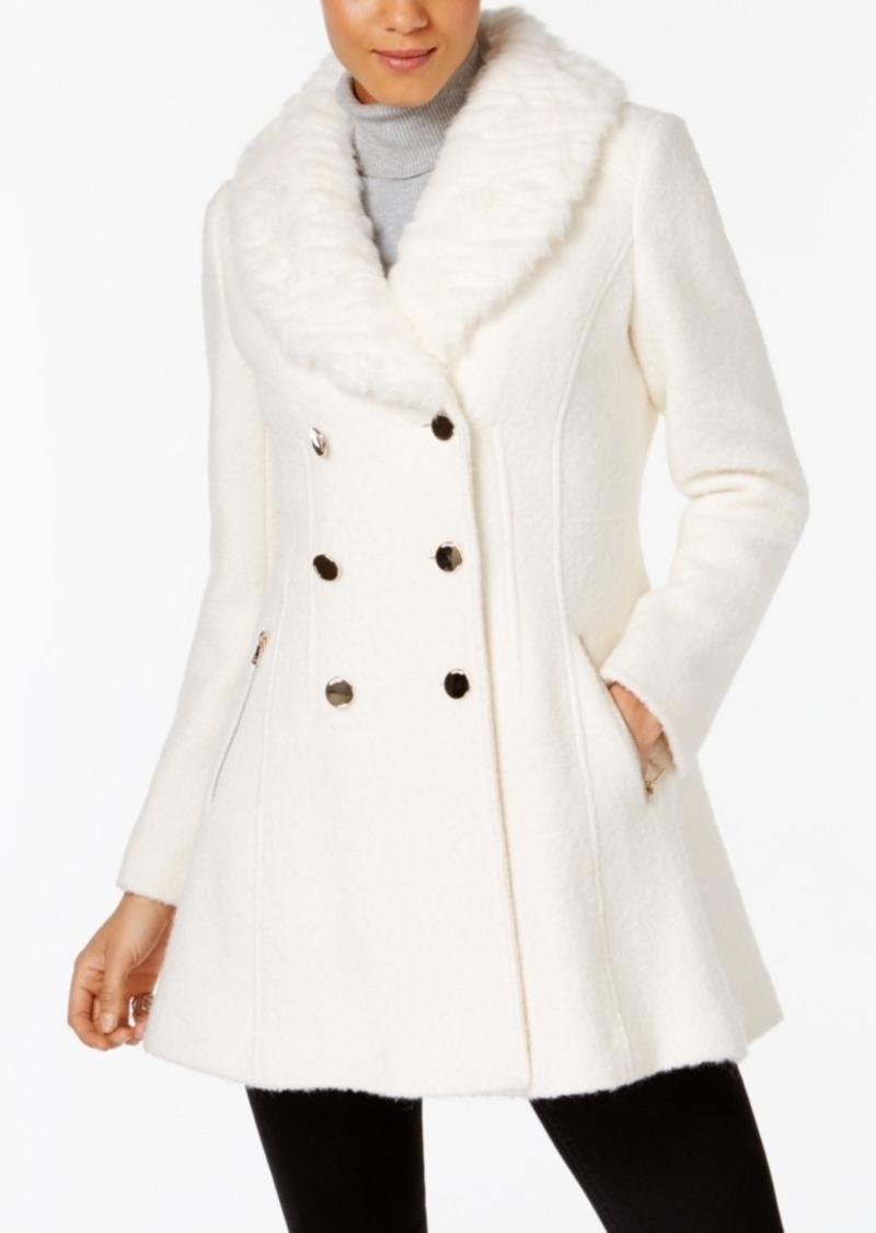 Guess Faux-Fur-Collar Skirted Coat