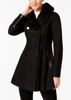 Guess Faux-Fur-Collar Double Breasted Skirted Coat, Created for Macy's