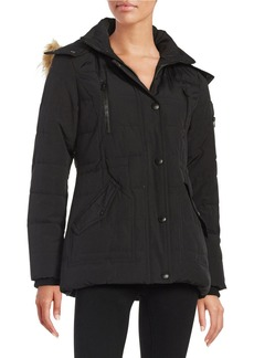 GUESS Faux Fur-Trimmed Hooded Puffer Coat