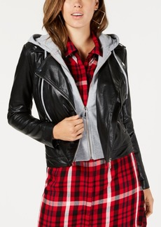 Guess Faux-Leather Hoodie Jacket