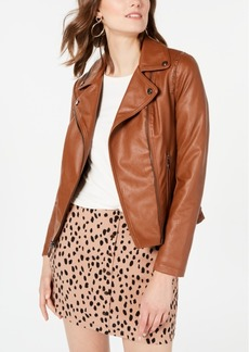 Guess Faux-Leather Moto Jacket, Created for Macy's