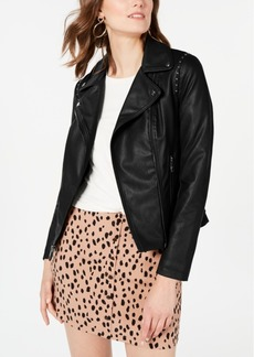 Guess Studded Moto Faux-Leather Jacket, Created for Macy's