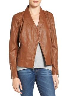 GUESS Faux Leather Moto Jacket (Regular & Petite)