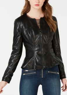 Guess Faux-Leather Peplum Jacket