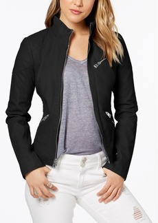 Guess Faux-Leather Quilted Moto Jacket