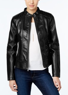 Guess Faux-Leather Textured Bomber Jacket