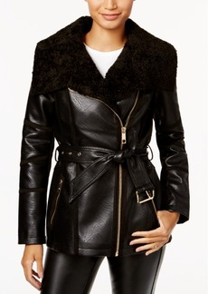 Guess Faux-Shearling Asymmetrical Coat