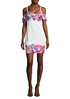 Guess Floral Cold-Shoulder Dress
