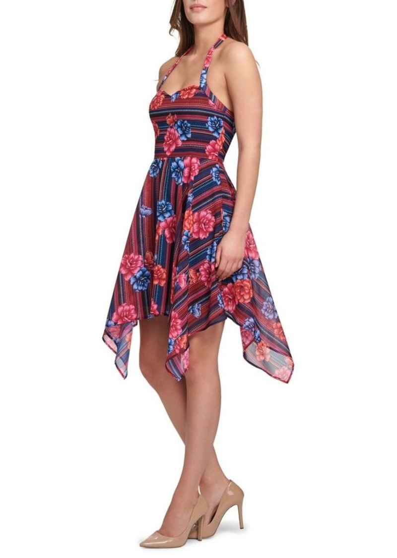 Guess Floral Halter Fit-and-Flare Dress