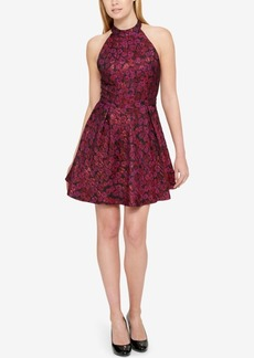 Guess Floral Jacquard Fit & Flare Dress