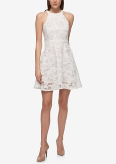 Guess Floral Lace Fit & Flare Halter Dress