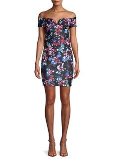 Guess Floral Off-The-Shoulder Mini Dress