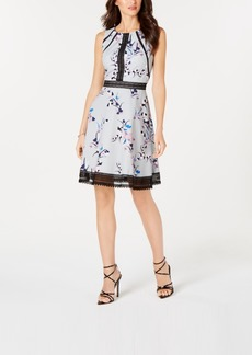 Guess Floral-Print & Lace Fit & Flare Dress