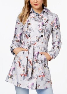 Guess Floral Double-Breasted Water Resistant Trench Coat