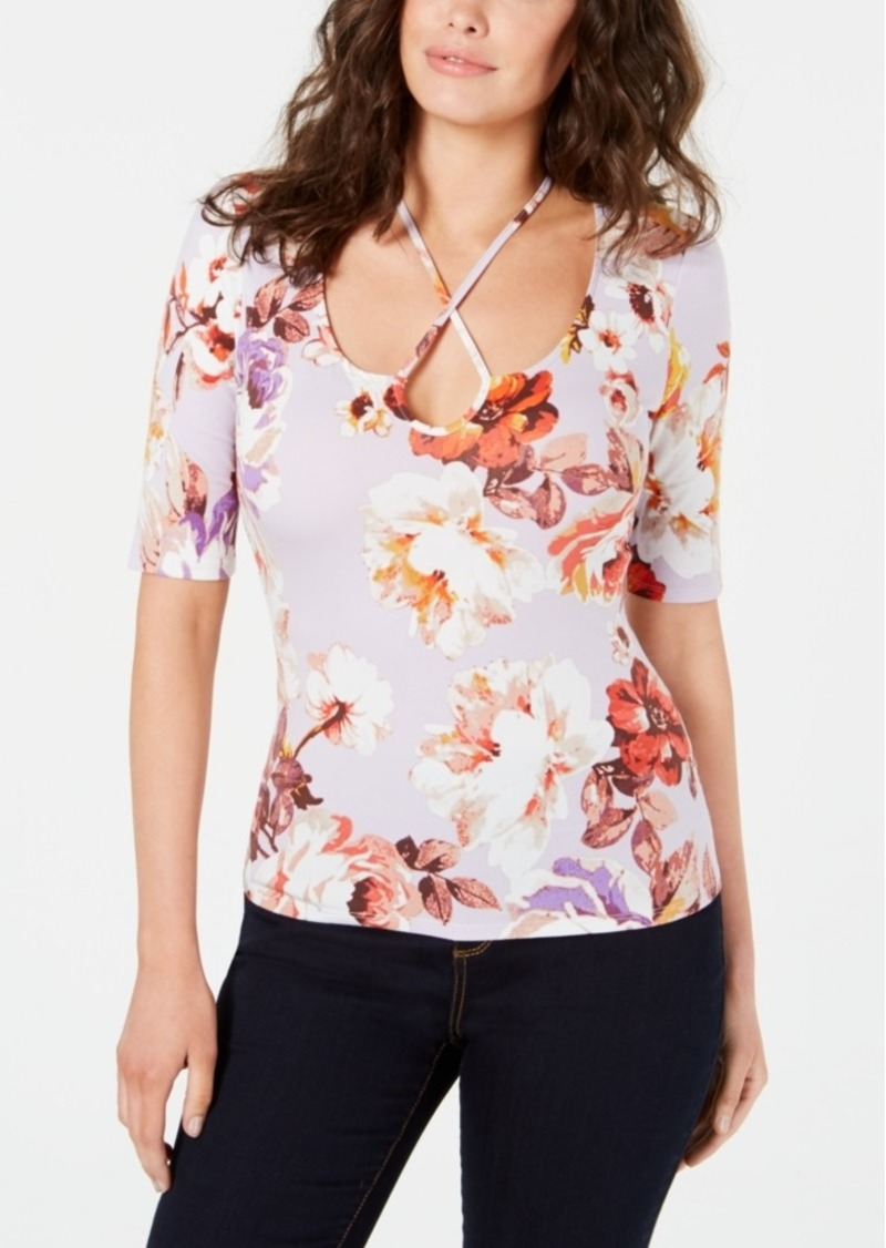 Guess Floral-Print Crisscross Top