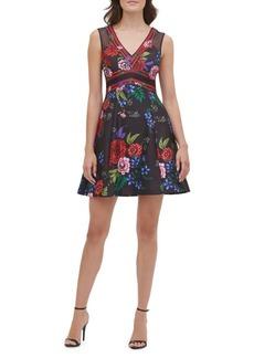Guess Floral-Print Mini Fit-&-Flare Dress