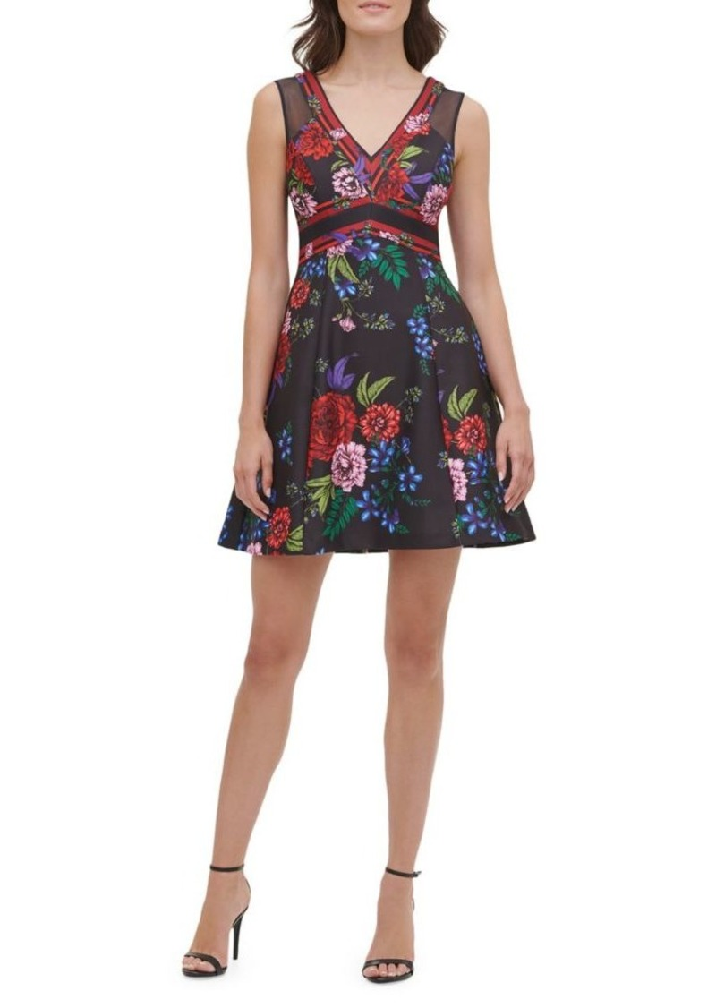 Guess Floral-Print Mini Fit-&-Flare Dress
