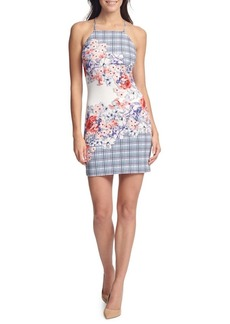 Guess Floral Scuba Halter Sheath Dress