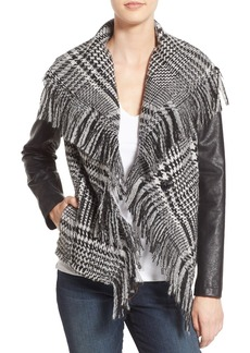 GUESS Fringe Trim Glen Plaid Faux Leather Moto Jacket