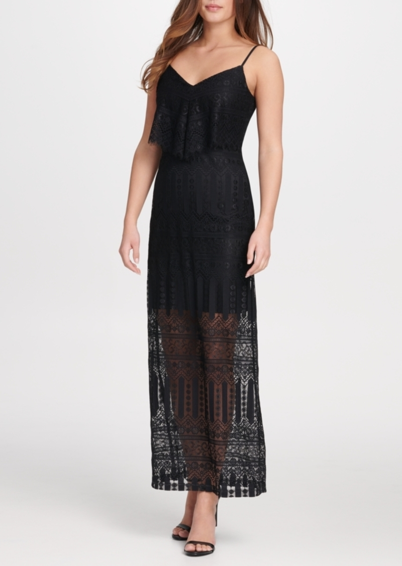 Guess Geo Stripe Lace Maxi Sundress
