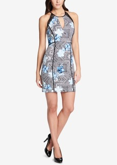 Guess Floral-Geometric Illusion Bodycon Dress