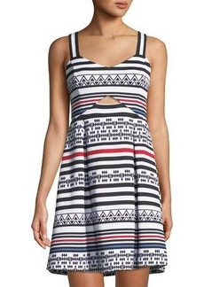 Guess Geometric Striped Fit & Flare Dress