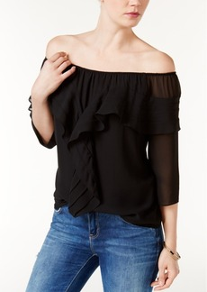 Guess Germaine Ruffled Off-The-Shoulder Top