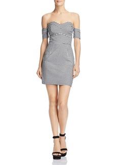 GUESS Gingham Off-the-Shoulder Dress