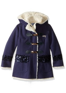 GUESS Girls' Big Girls' Bonded Jersey Hooded Duffle Coat with Faux Fur