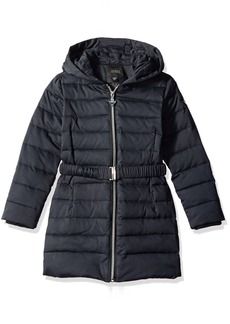 GUESS Big Girls' Satin Nylon Stretch Belted Puffer Jacket