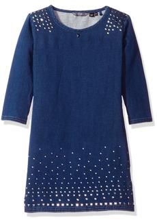GUESS Girls' Big Long Sleeve Studded Knit Denim Dress