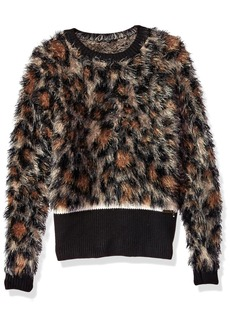 GUESS Girls' Big Long Sleeve Sweater ANIMALIER Leopard