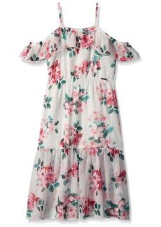 GUESS Girls' Big Sleeveless Floral Midi Dress