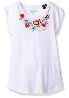 GUESS Girls' Little Floral Detail Short Sleeve Tee Shirt True White A