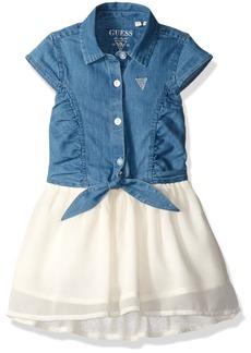 GUESS Little Girls' Denim and Chiffon Hi Low Dress