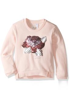 GUESS Little Girls' Long Sleeve Cotton Fleece Top with Sequin Flower