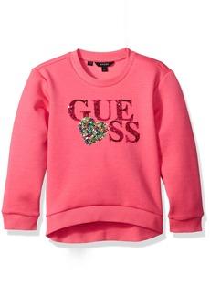 GUESS Girls' Little Long Sleeve Scuba Sequin Knit Logo Top