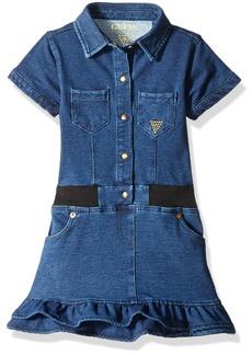 GUESS Little Girls' Short Sleeve Knit Denim Dress