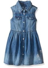 GUESS Little Girls' Sleeveless Snap Front Denim Dress
