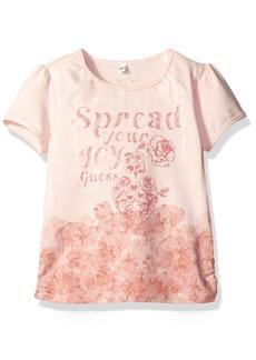 GUESS Girls' Little Short Sleeve Screen Print Tee Shirt