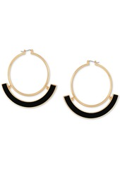 Guess Gold-Tone & Faux-Leather Hoop Earrings