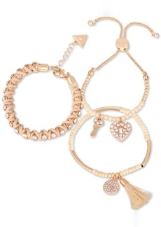Guess Gold-Tone 3-Pc. Set Crystal, Bead & Thread-Woven Bracelets