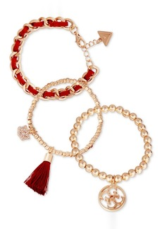 Guess Gold-Tone 3-Pc. Set Crystal Charm, Bead & Woven Bracelets