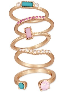 Guess Gold-Tone 5-Pc. Set Crystal & Stone Stack Rings