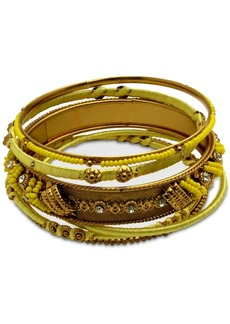 Guess Gold-Tone 6-Pc. Set Crystal & Bead Thread-Wrapped Bangle Bracelets