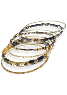 Guess Gold-Tone 7-Pc. Set Stone, Bead & Thread-Wrapped Bangle Bracelets, Created for Macy's