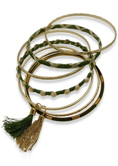 Guess Gold-Tone 7-Pc. Set Tassel & Thread-Wrapped Bangle Bracelets, Created for Macy's