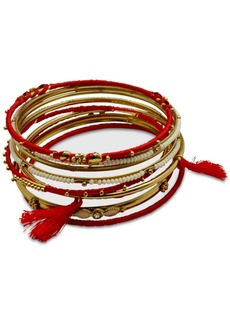 Guess Gold-Tone 9-Pc. Set Crystal & Bead Thread-Wrapped Bangle Bracelets