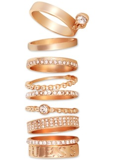Guess Gold-Tone 9-Pc. Set Crystal Stack Rings