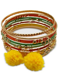 Guess Gold-Tone 9-Pc. Set Thread Wrapped & Pom-Pom Bangle Bracelets
